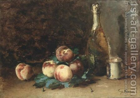 A Still Life With Peaches by Guillaume-Romain Fouace - Reproduction Oil Painting
