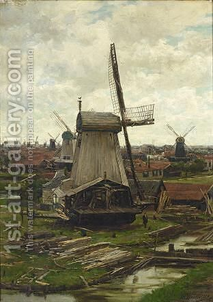 Sawing Mills by Jan Hillebrand Wijsmuller - Reproduction Oil Painting