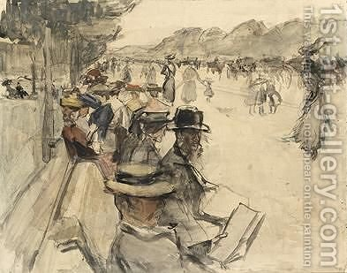 Reading And Strolling Figures In The Bois De Boulogne by Isaac Israels - Reproduction Oil Painting