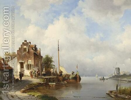 A View Of A Dutch Village On The Waterfront by Jacques Carabain - Reproduction Oil Painting