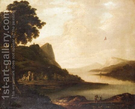 An Extensive Landscape With Figures On The Bank Of A Lake by (after) Sir Peter Lely - Reproduction Oil Painting