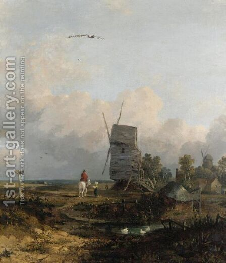 Figures By A Windmill by (after) Sir Peter Lely - Reproduction Oil Painting