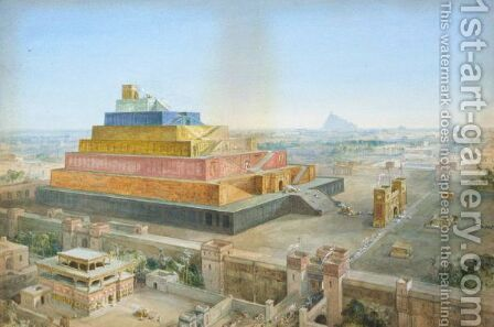 The Tower Of Babel Or Birs Nimrud Restored by (after) William Simpson - Reproduction Oil Painting