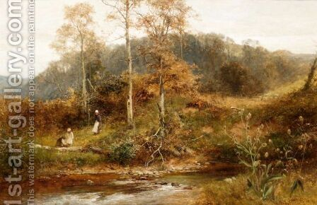 By The Brookside by David Bates - Reproduction Oil Painting