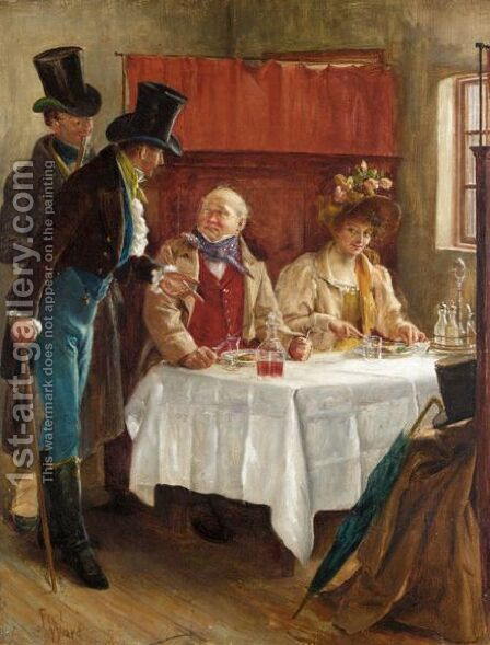 'This Seat Engaged Sir' by Alfred Ward - Reproduction Oil Painting