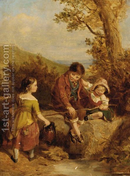 Children Playing By A Stream by (after) Erskine Nicol - Reproduction Oil Painting