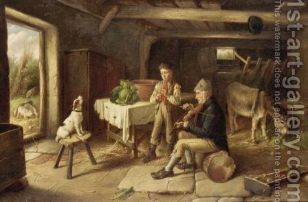 A Cottage Concert by Charles Hunt - Reproduction Oil Painting