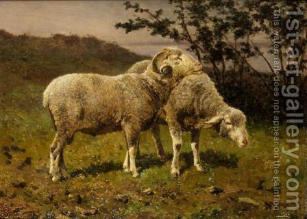 Sheep Grazing by Edouard Woutermaertens - Reproduction Oil Painting