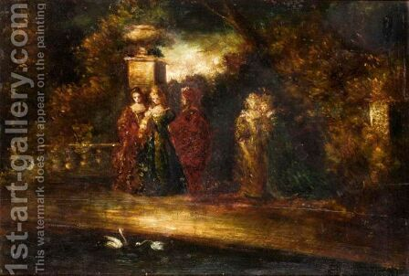 Evening In The Park by (after) Adolphe Joseph Thomas Monticelli - Reproduction Oil Painting