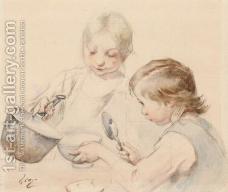 A Helping Of Soup by Henri-Jules-Jean Geoffroy (Geo) - Reproduction Oil Painting