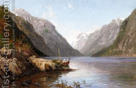 A Fjord In Norway by Anders Monsen Askevold - Reproduction Oil Painting