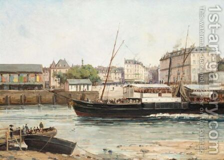 A River Town In Normandy by Gustave Mascart - Reproduction Oil Painting