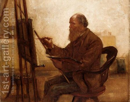 Self-Portrait While Painting by Arthur Bertram Loud - Reproduction Oil Painting