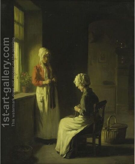 Sewing By The Window 2 by Claude Joseph Bail - Reproduction Oil Painting