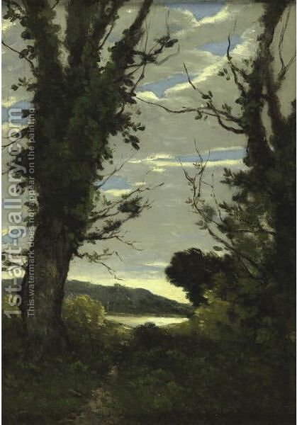A Wooded Landscape by Henri-Joseph Harpignies - Reproduction Oil Painting