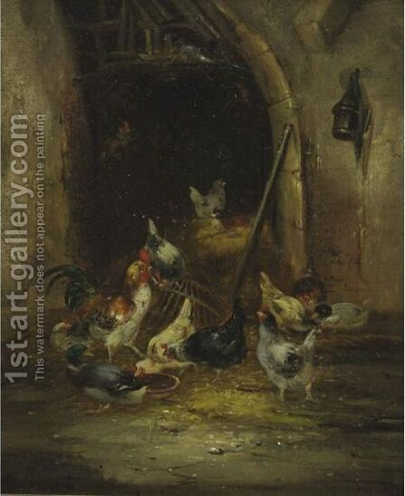 In The Poultry Yard A Pair by Claude Guilleminet - Reproduction Oil Painting