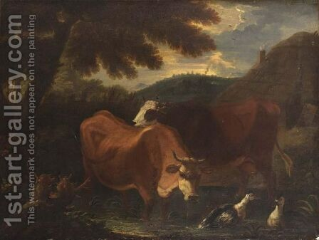 Cows Wading In A Stream In A Wooded Landscape by Dutch School - Reproduction Oil Painting