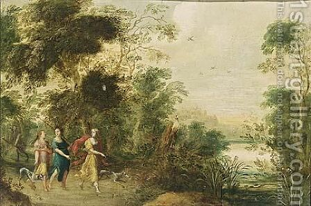 A Wooded Landscape With Three Huntresses And Their Hounds On A Path by (after) Jasper Van Der Lanen - Reproduction Oil Painting