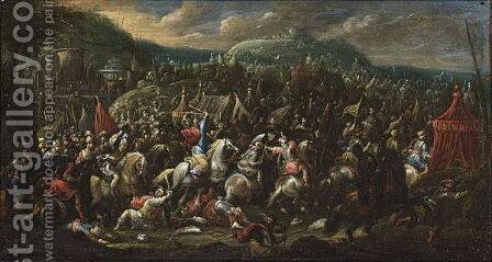 Battle Scene In A Mountainous Landscape by Dutch School - Reproduction Oil Painting