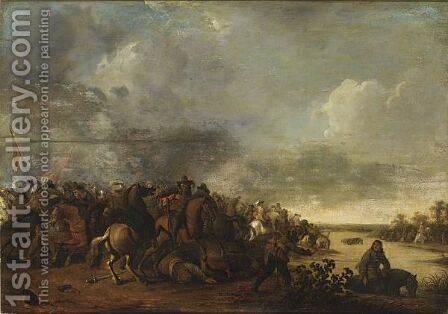 Cavalry Battle Scene Near A River by Hendrick De Meijer - Reproduction Oil Painting