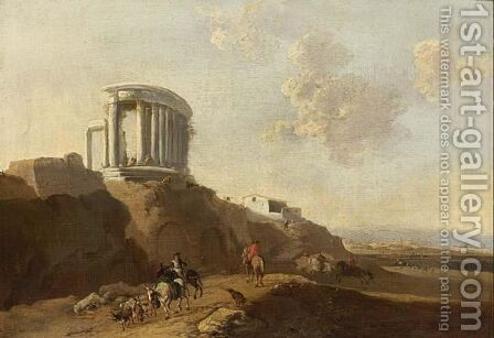 An Italianate Landscape With A Temple Ruin And Horsemen by (after) Jan Asselijn - Reproduction Oil Painting