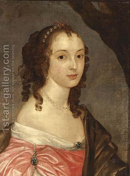 A Portrait Of A Lady, Bust Lenght, Wearing A Pink Satin Dress, Pearl Jewellery And A Brown Shawl Draped Around Her by (after) Sir Peter Lely - Reproduction Oil Painting