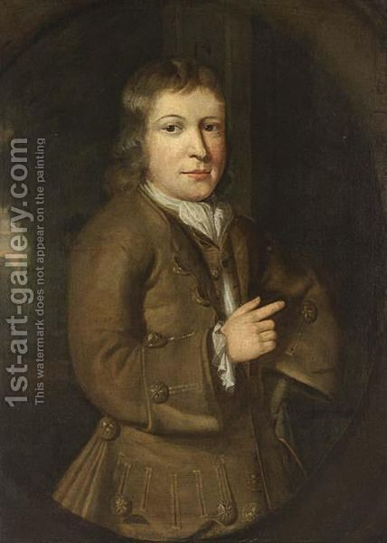 A Portrait Of A Boy, Half Length, Wearing A Grey Green Waist Coat With White Chemise by Jacob Schrieder - Reproduction Oil Painting