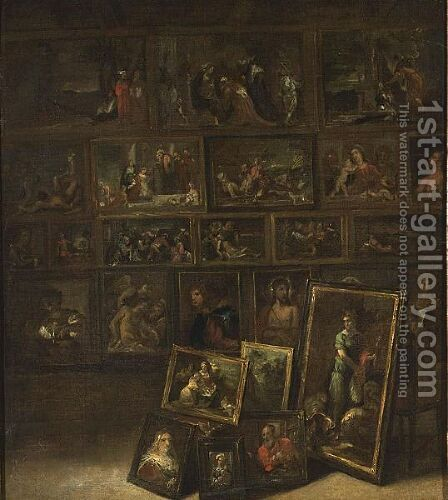 Archduke Leopold Wilhlem's Picture Gallery by (after) David The Younger Teniers - Reproduction Oil Painting