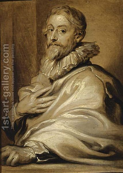 An En Grisaille Portrait Of The Engraver Pieter De Jode The Elder by (after) Dyck, Sir Anthony van - Reproduction Oil Painting