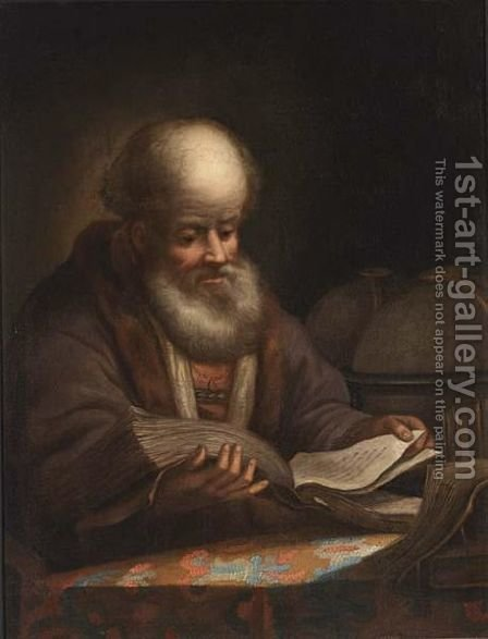 A Portrait Of A Bearded Man Reading by (after) Harmenszoon Van Rijn Rembrandt - Reproduction Oil Painting