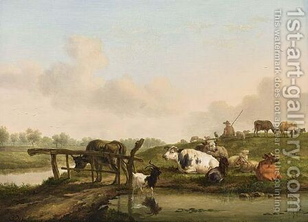 A River Landscape With A Shepherd And His Cattle Resting by Balthasar Paul Ommeganck - Reproduction Oil Painting