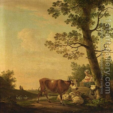 A Peasant Woman With Her Cattle by (after) Abraham Van, I Strij - Reproduction Oil Painting