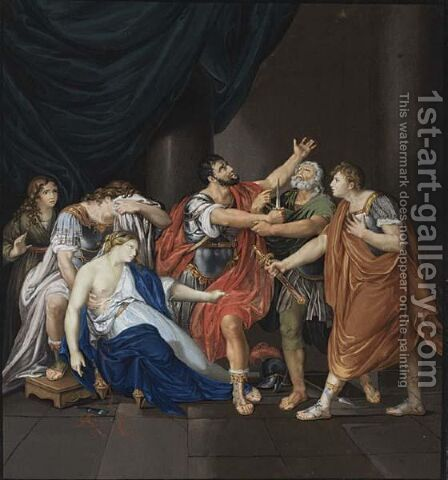 Death Of Lucretia by Italian School - Reproduction Oil Painting