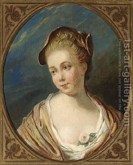 A Bust Length Portrait Of A Young Lady by (after) Fragonard, Jean-Honore - Reproduction Oil Painting
