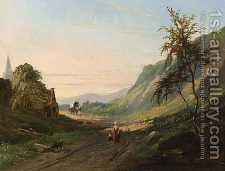 Figures And A Horsedrawn Carriage In A Mountainous Landscape by Jacobus Pelgrom - Reproduction Oil Painting