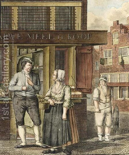 Streetscene With Figures by Dutch School - Reproduction Oil Painting