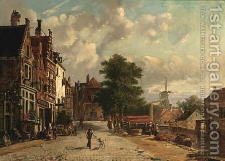 A Town Scene In Summer by Dutch School - Reproduction Oil Painting