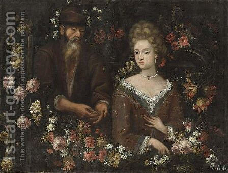 An Allegory Of Unequal Love Surrounded By Various Flowers by (after) Dei Fiori (Nuzzi) Mari - Reproduction Oil Painting