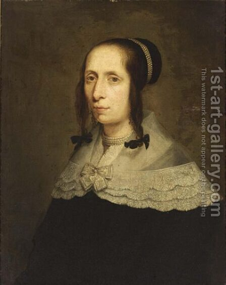 A Portrait Of A Lady, Bust Length, Wearing A Black Dress With White Lace Collar And Pearl Jewellery by (after) Bartholomeus Van Der Helst - Reproduction Oil Painting