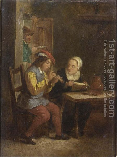 A Peasant Playing A Recorder And A Peasant Woman Listening In An Inn by (after)  David The Younger Teniers - Reproduction Oil Painting
