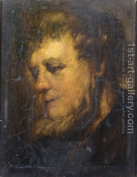Study Of A Head Of A Bearded Man by (after) Harmenszoon Van Rijn Rembrandt - Reproduction Oil Painting
