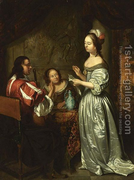 An Interior Scene With An Elegant Lady Reading A Letter, A Man Playing The Lute And A Woman Listening At The Table by (after) Caspar Netscher - Reproduction Oil Painting