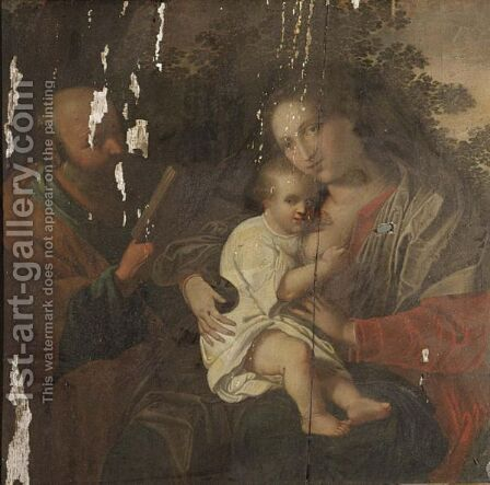The Holy Family In A Landscape by Antwerp School - Reproduction Oil Painting