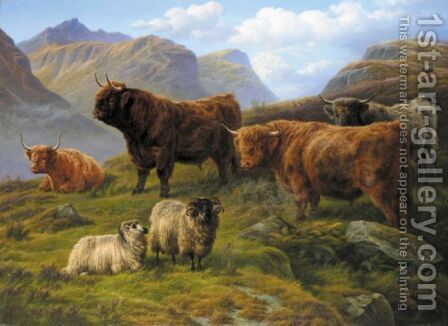 Grazing In The Highlands by Charles Jones - Reproduction Oil Painting