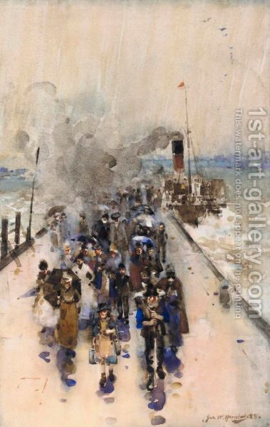 A Rainy Day, Alloa Pier by James Watterston Herald - Reproduction Oil Painting