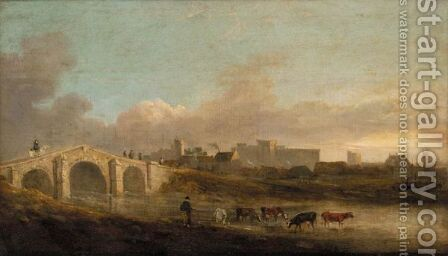 View Of Middleham Castle, Yorkshire With A Drover And Her Cattle In The Foreground by (after) Julius Caesar Ibbetson - Reproduction Oil Painting