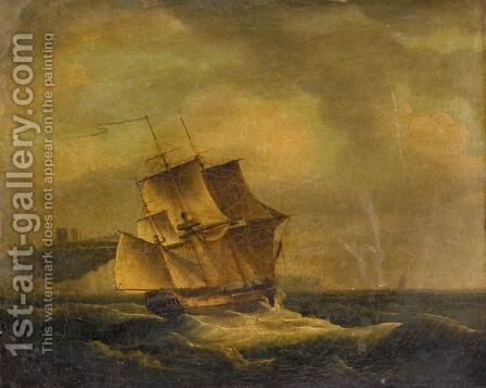 An English Frigate In A Heavy Swell Off Dover by (after) John Thomas Serres - Reproduction Oil Painting