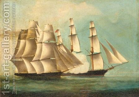 Firing Broadsides by Anglo-Colonial School - Reproduction Oil Painting