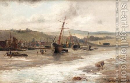 Boats At Low Tide by Gustave de Breanski - Reproduction Oil Painting