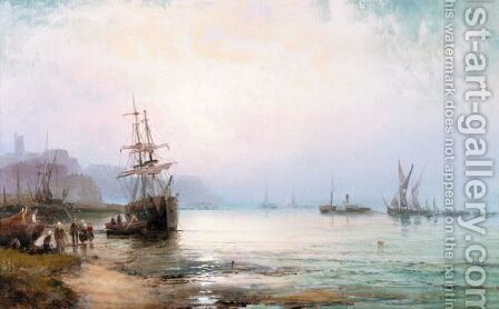 Shipping Off Scarborough by Hubert Thornley - Reproduction Oil Painting